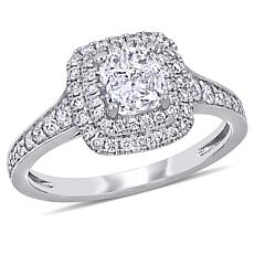 14K White Gold 1.47ctw Diamond Cushion and Round Halo Engagement Ring