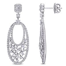 14K White Gold 1.50ctw Diamond Multi-Cut Stone Oval Drop Earrings