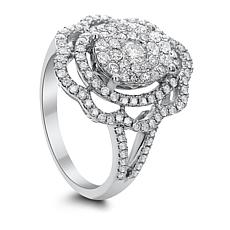 14K White Gold 1ctw Diamond Floral Ring