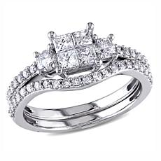 14K White Gold 1ctw Princess-Cut and Round Diamond Bridal Ring Set