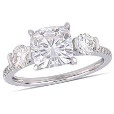 14K White Gold 2-1/4ct Moissanite and 1/6ctw Diamond 3-Stone Ring