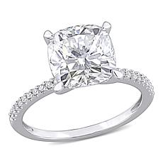 14K White Gold 3.50ctw Moissanite and .11ctw Diamond Cushion Halo Ring
