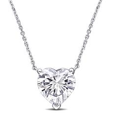 "14K White Gold 4ctw Moissanite Heart Solitaire Pendant with 17"" Chain"