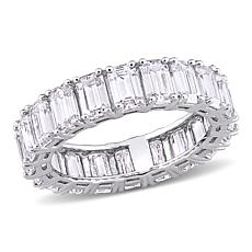 14K White Gold 5ctw Emerald-Cut Created Moissanite Eternity Band Ring