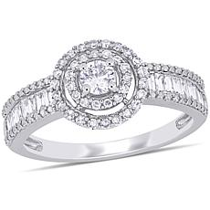 14K White Gold .70ctw Round and Baguette Halo Engagement Ring