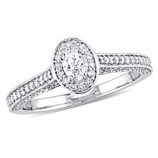14K White Gold .724ctw Oval Diamond Halo Ring
