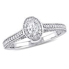 14K White Gold .724ctw Oval Diamond Halo Ring