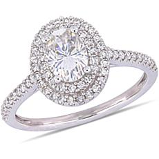 14K White Gold .75ct Moissanite & .32ctw Diamond Oval Double-Halo Ring