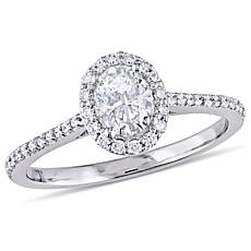 14K White Gold .75ctw Diamond Oval Halo Engagement Ring