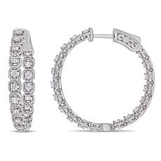 14K White Gold .87ctw Diamond Hoop Earrings
