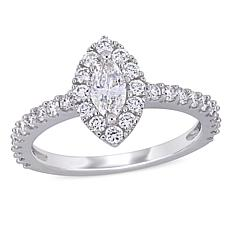 14K White Gold .97ctw Diamond Marquise Halo Engagement Ring