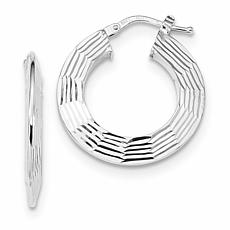 14K White Gold Diamond Cut and Polished Hoop Earrings