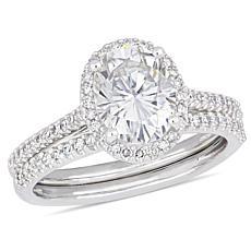 14K White Gold Oval Moissanite and Diamond Halo Bridal Ring Set