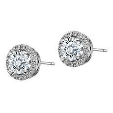 14K White Gold Round Halo Moissanite Earrings