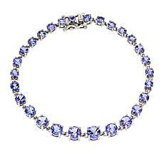 14K White Gold Tanzanite Round Graduated Tennis Bracelet