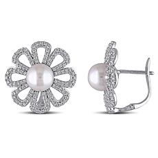 14K White Gold White Cultured Freshwater Pearl & Diamond Floral Studs