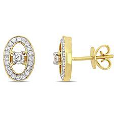 14K Yellow Gold 0.34ctw Diamond Open Oval Halo Stud Earrings
