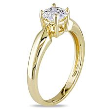 14K Yellow Gold 0.5ct Moissanite Round Solitaire Ring
