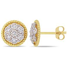 14K Yellow Gold 1 ctw Diamond Round Stud Earrings