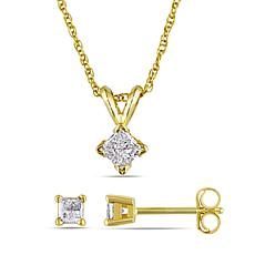 14K Yellow Gold .50ctw Diamond Princess Solitaire Earrings and Pendant