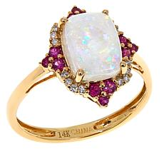 14K Yellow Gold Australian Opal and Gem Cluster Ring