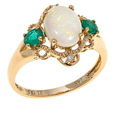 14K Yellow Gold Australian Opal & Gem Swirl-Design Ring