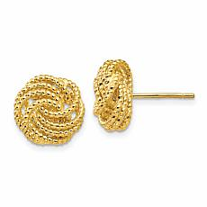 14K Yellow Gold Diamond-Cut Love Knot Post Earrings