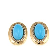 14K Yellow Gold Sleeping Beauty Turquoise and Diamond Stud Earrings