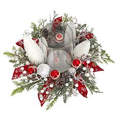 """15"""" Holiday Lighted Forest Candle Holder Table Christmas"""