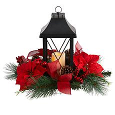 """15"""" Holiday Poinsettia, Pinecone and Greenery with Lantern"""