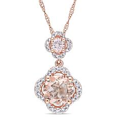 1.53ctw Morganite and Diamond 14K  Double Drop Pendant
