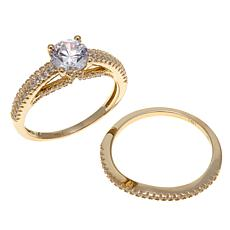 1.63ct Absolute™ 14K Round Stone Pavé 2-piece Ring Set