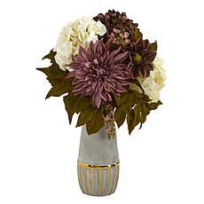 17 in. Peony, Hydrangea and Dahlia Artificial Arrangement in Stonew...