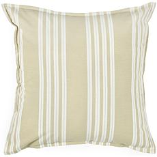 "18"" x 18"" Nautical Stripe Pillow - Tan/White"