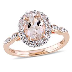 1.83ctw Pink Morganite, White Topaz & Diamond 14K Rose Gold Halo Ring