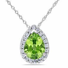 1.84ctw Peridot and Diamond Pear-Shaped 14KWhite Gold