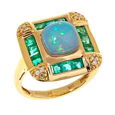 18K Gold Ethiopian Opal, Emerald & Diamond Square Ring