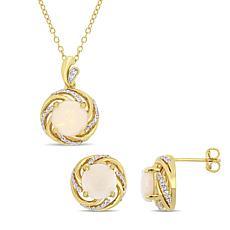 18K Gold-Tone Opal, White Topaz and Diamond Swirl Pendant and Earrings