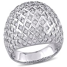 18K White Gold 1.50ctw Diamond Dome Ring
