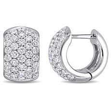 18K White Gold 2.13ctw Diamond Dome Hoop Earrings