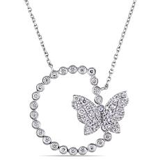 18K White Gold .80ctw Diamond Semi-Circle Butterfly Necklace