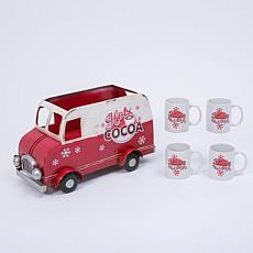 "18""L Hot Cocoa Truck with 4 Ceramic Mugs"
