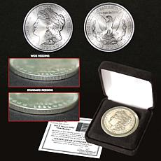 "1921 P-Mint Morgan Silver Dollar with ""Wide Reeding"""