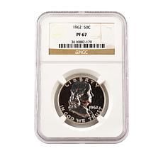 1962 PF67 NGC Benjamin Franklin 90% Silver Half Dollar