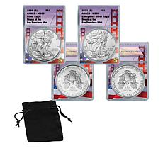 1986 and 2021 San Francisco Mint Emergency Silver Eagle Dollar Coins