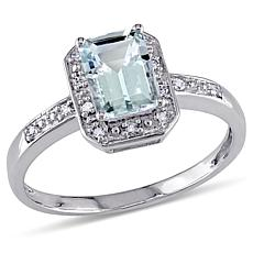 1ctw Aquamarine and Diamond 10K  Emerald-Cut Ring