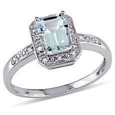 1ctw Aquamarine and Diamond 10K  Emerald-Cut Ring