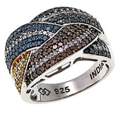 1ctw Multicolor Diamond Braided Sterling Silver Band Ring