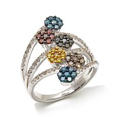 1ctw Multicolor Diamond Flower Sterling Silver Ring