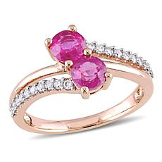 1ctw Pink Sapphire and Diamond 10K Bypass Ring